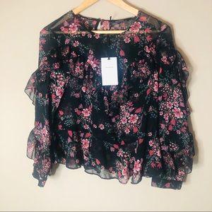 Zara floral ruffle top